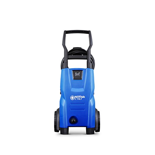 Nilfisk C 110 bar 110.7-5 X-TRA Kompakter Hochdruckreiniger für leichte, allgemeine Reinigungsaufgaben – für den Außenbereich – Wasserdurchsatz 440 l/h (blau)