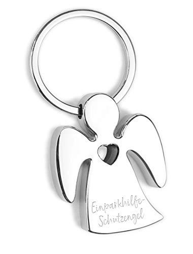 ART + emotions Schlüsselanhänger Einparkhilfe- Schutzengel - Metall verchromt mit Herz und hochwertiger Lasergravur inkl. schöner Geschenkbox - Glücksbringer Talisman fürs Auto, Reise