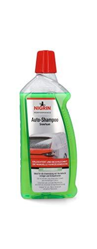 NIGRIN 20605 Auto Snowfoam 1 Liter, Foam Schaum-Shampoo erzeugt dichten,langhaftenden,schmutzlösenden Schaumteppich,Bubblegum-Duft