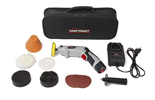 Dino KRAFTPAKET 640256 10.8V-Akku Poliermaschine Multiplex 75mm-Teller 600-3.000U/min mit drehbarem Gehäuse für Stab-oder Pistolenform. Komplett-Set mit Pads Polierteller Schnelladegerät, Tasche, Grau