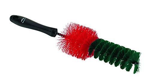 Harde velgborstelgegalvaniseerd metaal en harde rood/groene polyester vezelsvezellengte 40 mmmax. 100°C.Ø 65/40 x 335 mm