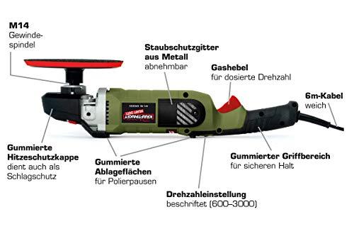 Dino KRAFTPAKET 640255 Heavy Duty 1400W Rotations Poliermaschine 600-3.000U/min mit DREI Stütztellern (125+150+180mm) und 6-Meter weichem Kabel, Grün