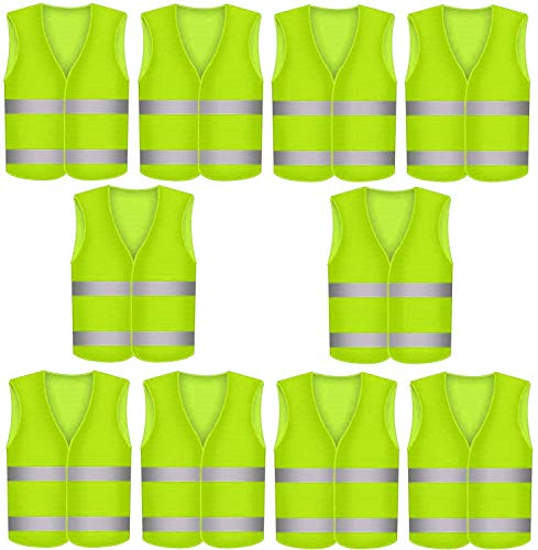 10 Stück Warnweste Sicherheitswesten Gelb - Einheitsgröße - Fürs Auto und am Arbeitsplatz - 360° Sichtbarkeit