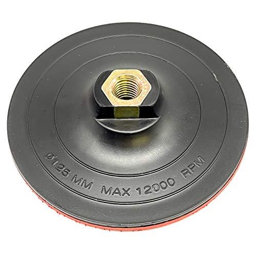 EMPORA Schleifteller Stützteller für Winkelschleifer - 115 mm - 125 mm - 180 mm - M14 - Stützteller für Bohrmaschine/Winkelschleifer (Mit Klett Hard, 125 mm)