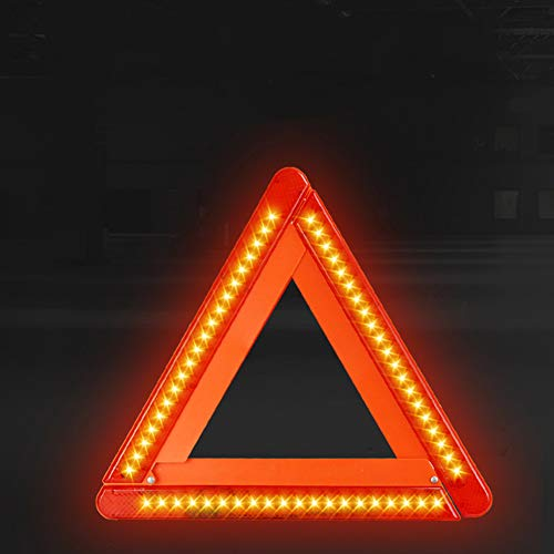 BETT Warndreieck mit LED Warnleuchte Rotfür KFZ Auto Motorrad, Kunststoffköcher zur Aufbewahrung