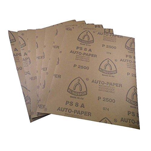 Wasserschleifpapier 10 Blatt P800 Maße 230 mm x 280 mm Nass-Schleifpapier bestes Oberflächenfinish flexibles Trägerpapier kurze Einweichzeiten optimale Anpassung an die Objektkonturen hohe Abtragsleistung durch gleichmäßige Rauhtiefe Aufpolieren mit Hochglanzpolituren kleine Ausschleifungen von Staubeinschüssen