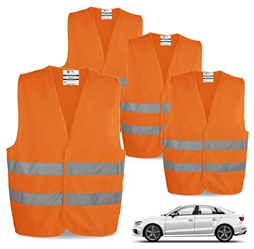 TK Gruppe Timo Klingler 4X Warnwesten EN471 Pannenweste 2021 Unfallweste Pkw Sicherheitsweste Weste orange reflektierend Auto, Pkw, LKW (4X)