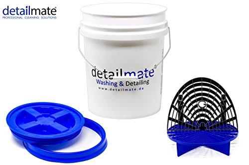 detailmate Profi Set Auto Reinigung GritGuard: Wasch Eimer 5 GAL (ca. 20 Liter) / Gamma Seal Eimerdeckel blau/Einsatz blau/Washboard