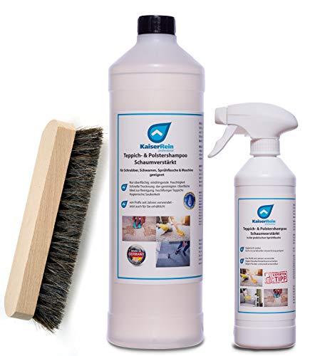 KaiserRein 1 L Teppichreiniger Konzentrat, Bürste und Sprühflasche I Polsterreiniger für Auto, Teppich und Polster I Textilreiniger Teppiche Autositze I Waschsauger geeignet