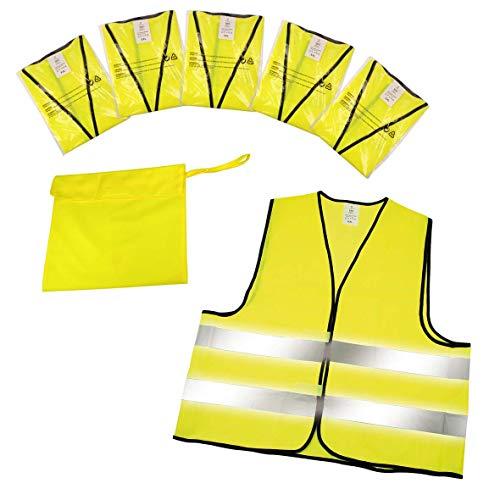 Warnwesten 5er-Set im Etui nach EN ISO 20471 zertifiziert Warnweste neon-gelb Größe XXL mit Reflektorstreifen