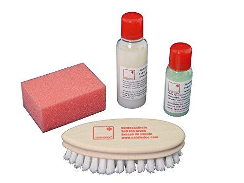 CABRIODOC Cabrio Verdeck Reiniger Imprägnierer Bürste Stoffverdeck Pflege Set für alle Verdeckfarben