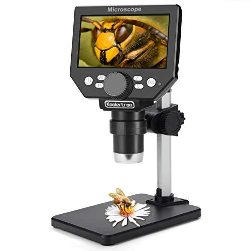 LCD Digital USB Mikroskop, Koolertron 4,3 Zoll 1080P 8 Megapixel 1000X HD Vergrößerung Zoom Drahtlose Mikroskopkamera mit 8 LED Leuchte, 2000mAh Akku.