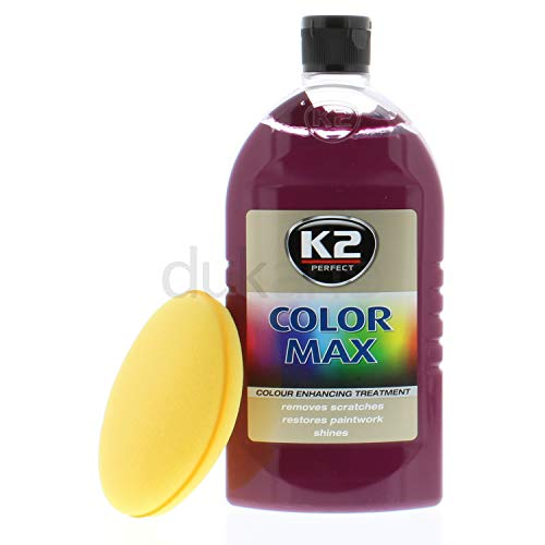 Shiny Freaks Auto Politur Set: K2 Color MAX Farbwachspolitur 500ml + Polierschwamm   2-teilig (Dunkelrot)
