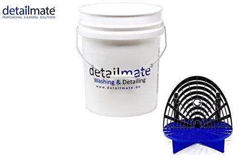 detailmate Profi Set Auto Reinigung GritGuard: Wasch Eimer 5 GAL (ca. 20 Liter) / ohne Eimerdeckel/Einsatz blau/Washboard