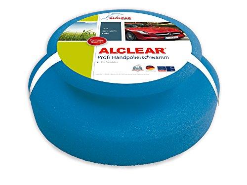 ALCLEAR 5713050M Auto Profi Handpolierschwamm 130 x 50 mm mit umlaufender Griffleiste für Wachse, Polituren, Lackreiniger, Politur Set, statt Poliermaschine