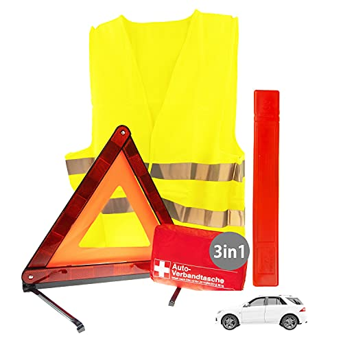 3in1 Sicherheit & Erste Hilfe Set Auto 2021   Notfallset mit Warndreieck Pannenweste Verbandkasten   KFZ Pannenset Pannenhilfe & Unfall Zubehör Set   Sicherheits-Set Auto 2021 ideal als Starter Set