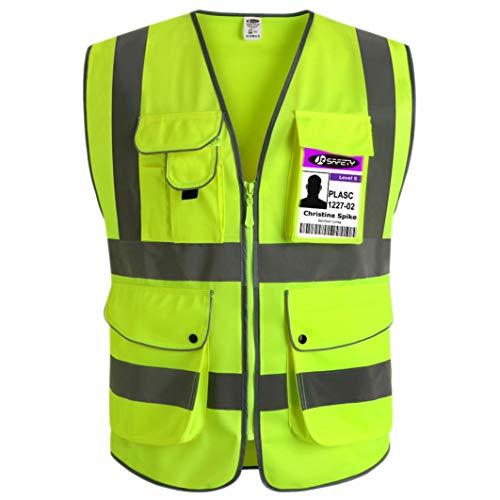 JKSafety Neun Taschen Unisex Hohe Sichtbarkeit Warnweste Reflektierende Weste Reißverschluss EN ISO 20471 Gelb (Large)