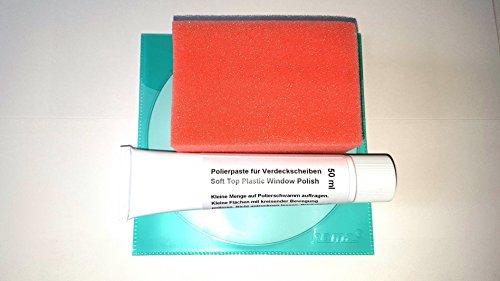 Verdeck Scheiben Politur Set für die Kunststoff (PVC) Verdeckscheibe b.z.w. Cabrioscheibe vom BMW Cabrio