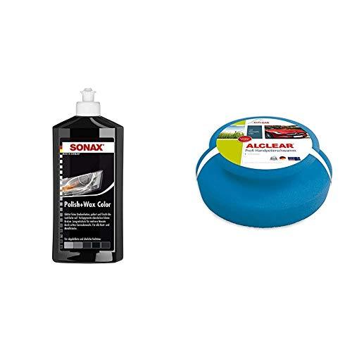 SONAX Polish & Wax Color schwarz (500 ml) Politur mit Farbpigmenten und Wachsanteilen & ALCLEAR 5713050M Auto Profi Handpolierschwamm 130 x 50 mm mit umlaufender Griffleiste