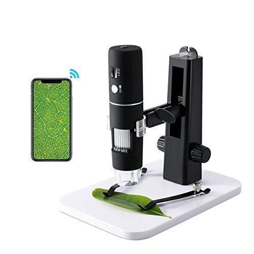 ROTEK USB WiFi Mikroskop Kamera, Mini Mikroskop für Kinder 1000X Zoom 1080P Full HD mit Professionellem Aufzug-Stand, Mikroskop Digital mit 8 LED für Handy iPhone ios Android ipad PC Windows, Mac