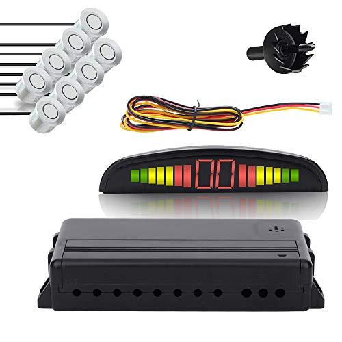Hengda Einparkhilfe Rückfahrwarner 8 Sensoren 4 vorne 4 hinten Led display Silber Auto Rückfahrwarner