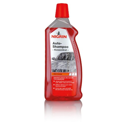 NIGRIN Autoshampoo Konzentrat, 1 Liter, entfernt auch starke Verschmutzungen, schont Lack- und Kunststoffoberflächen, mit Orangen-Duft