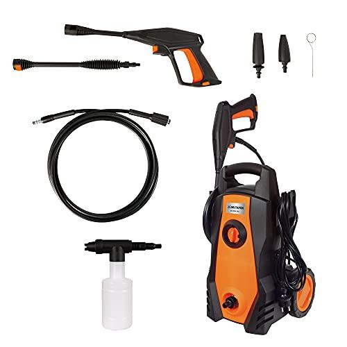 DELTAFOX Hochdruckreiniger - max. Druck 110 bar - 1450 W - max. 360 l/h Fördermenge - 4m Schlauch - 5m Kabel - Schlauch- und Kabelhalter - Aluminiumpumpe - große Räder