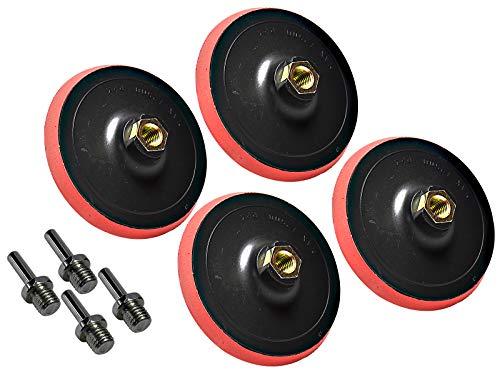 4 Stück HMH-Shop Schleifteller mit Klett 125 mm M14 inkl. Spanndorn für Bohrmaschine und Winkelschleifer