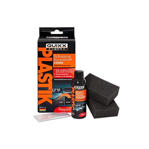 QUIXX 10188 Schwarze Kunststoff-Farbe | Kunststoff Reparatur Set | Kunststoff Politur | Kunststoff schwarz | Kunststoff Aufbereitung | Kunststoff färben
