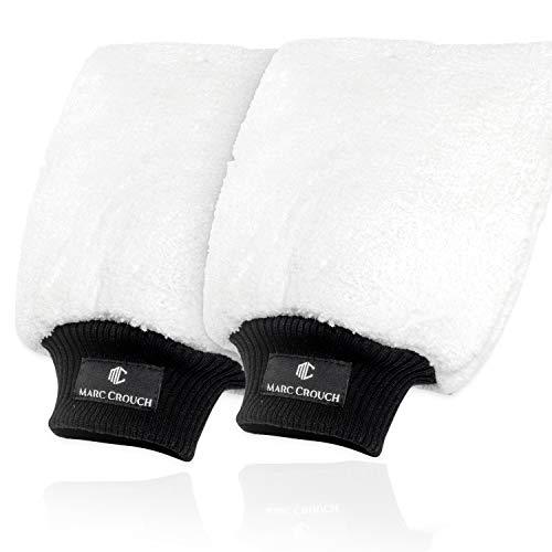 MARC CROUCH 2X Mikrofaser Handschuhe mit ultimativem Halt dank 4 Innenlaschen und Umhängeschlaufe - unglaubliche Saugstärke – Perfekt für die Nassreinigung von Autos/KFZ, Motorräder oder im Haushalt