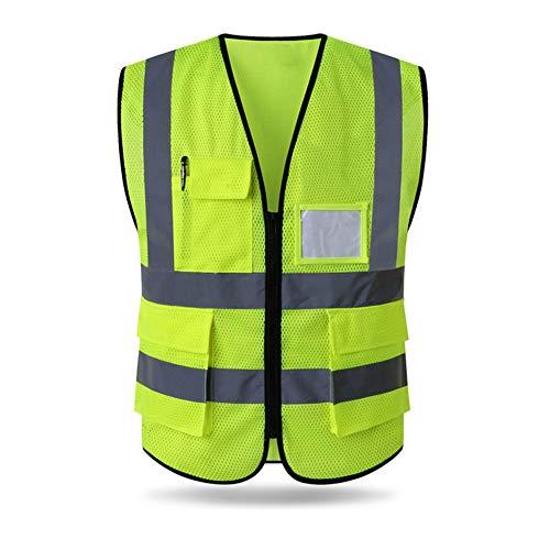 HYCOPROT Sicherheitswesten Warnweste Hohe Sichtbarkeit Reflektierendes Weste Executive Manager Workwear Jacke Zip 2 Band Brace Sicherheit Handytasche Ausweishalter (M, Gelb-Mesh)