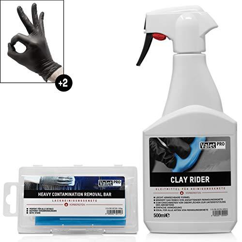 detailmate ValetPRO Reinigunsknete Gleitmittel Set zur schonenden Lackreinigung Auto : Clay Rider - Sprühflasche - 500 ml - Gleitmittel + Reinigunsknete blau hart Clay - 100g + Schutzhandschuhe