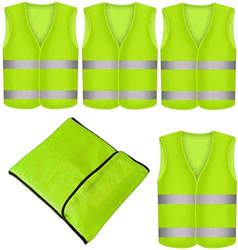 4er Warnwesten Set fürs Auto mit praktischer Tasche - Universalgröße - 360° Reflektierend - Gelb
