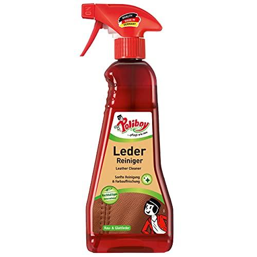 Poliboy - Leder Reiniger - für alle Lederarten, Kunstleder und Materialmix - extra langer Anlaufschutz - Lederreinigung - Einzeln - 375ml Flasche - Made in Germany
