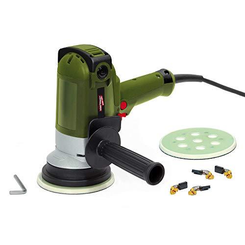 Dino KRAFTPAKET 640340 Heavy Duty 8mm-900W Vertikal Exzenter Poliermaschine mit Zwangsrotation und 2 X Stützteller 125mm, 6m weichem Kabel für Auto KFZ Boot