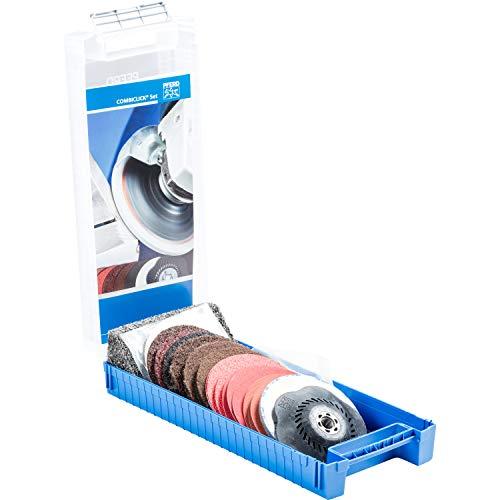 PFERD-COMBICLICK-Set, 19-teilig, Fiberschleifer, Filz- und Vlieswerkzeuge, Außen-ø 115 mm, Gewinde M14, inkl. Stützteller, 49350071 – für die Oberflächenbearbeitung von grob bis spiegelpoliert
