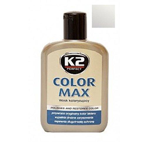 K2 Color Max Farbwachs mit Carnauba, stellt den Glanz des Autos wieder her, Silber 200 ml