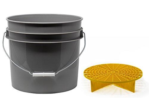 detailmate Set aus US Made Wash Bucket Wasch Eimer 3,5 Gallonen (12,5 Liter) grau Grit Guard Eimer Einsatz gelb
