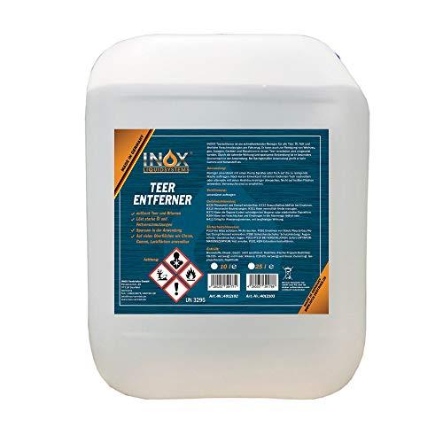 INOX® Auto Teerentferner 10L - Teerreiniger für Innenraum und Außen - Klebstoffentferner Baumharzentferner - Industriereiniger schonend zu Autolack und Chrom