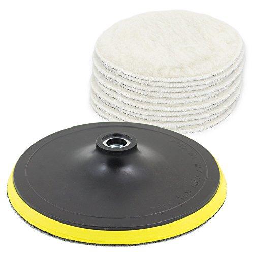 BITUXX® 180mm Rotations Polierteller mit 10x Polierpad Wollpad Polierfell Wollpuffer Polierhauben für Autopoliermaschinen