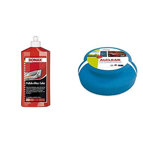 SONAX Polish & Wax Color NanoPro rot (500 ml) Politur mit Farbpigmenten und Wachsanteilen auf Nanotechnologie-Basis & ALCLEAR 5713050M Auto Profi Handpolierschwamm 130 x 50 mm
