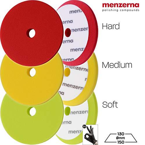 Detailmate Polierschwamm 3er Set: Menzerna Premium Pads 150mm mit Loch für Exzenter: Polierpad 1x rot, hart für heavy cut, 1x gelb, medium für medium cut, 1x grün, soft für Finish + 2 Schutzhandschuhe