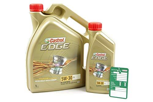1 L + 5 L = 6 Liter Castrol Edge Fluid Titanium 5W-30 LL Motoröl inkl. Castrol Ölwechselanhänger