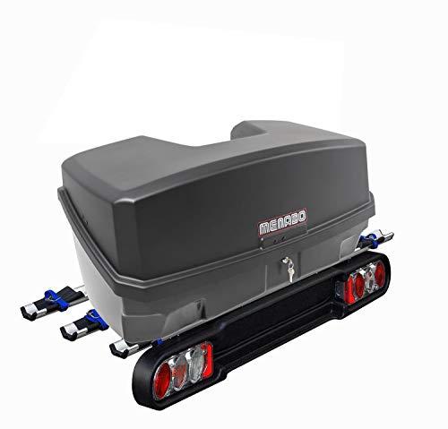 MENABO Race 3 Kupplungsträger Fahrradträger 3Räder klappbar + Nekkar Gepäckbox schwarz