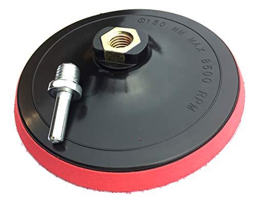 Schleifteller mit Klett M14 150mm inkl. Spanndorn für Bohrmaschine/Winkelschleifer