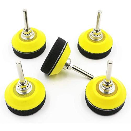Sweetone Polierpad Adapter, 5 Stück 50mm Klett-Schleifpads, mit M14 Schaftbohraufsatz und weicher Schaumstoffschicht-Pufferpad, Schleifscheiben, Scheiben, Schleifscheiben mit Faserrückseite