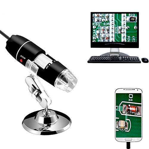 Jiusion 40 - 1000X vergroting endoskop, 8pcs LED USB 2.0 Digitaal MiKrosKop, Mini Kamera met OTG Adapter en Metaal Standfunktion, kompatibel met Mac Windows 7 8 10 Android Linux