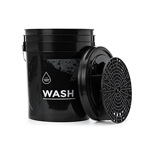 CLEANTECH CO Wascheimer 20 Liter + Schmutzsieb Eimereinsatz + Eimer-Deckel | WASH SCHWARZ | Autowascheimer mit Schmutzsieb für die schonende Autowäsche/Motorradwäsch