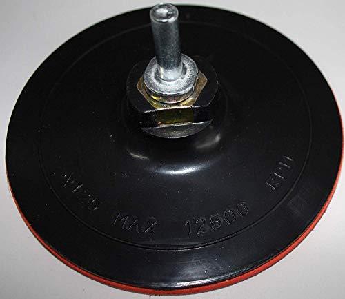HKB 1 Stück Schleifteller, Klett-Stützteller 125 mm, mit Spanndorn M14, für Bohr- oder Schleifmaschinen, Artikel-Nr. 70030 …