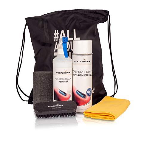 COLOURLOCK Cabrioverdeck Reinigungs- und Pflegeset mit Reiniger 500ml, Imprägnierung 500ml, Reinigungsbürste, Schwamm und Mikrofasertuch im praktischen Tragebeutel
